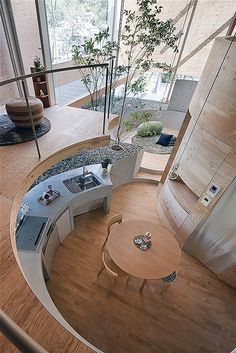 The Pit House - Okayama, Japan Nice curved Kitchen