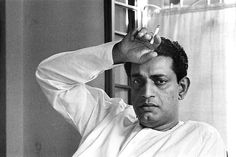 Satyajit Ray with cigarette.