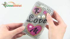 BlackBerry 9550 9520 Love Pattern Rhinestone Bling Hard Plastic Case Cover