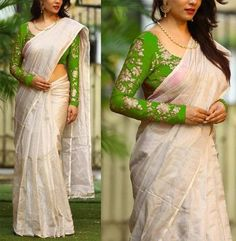 White Color South Silk Jarna Saree - look Kerala Saree Blouse Designs, Saree Kuchu Designs, Saree Wearing Styles, Saree Styles, Stylish Blouse Design, Fancy Blouse Designs, Trendy Sarees, Fancy Sarees, Indian Dresses Traditional