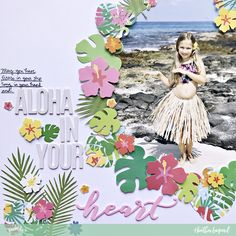 Document your summer activities with this Hula Girl Scrapbook Layout, Free Cut File and Tutorial from Heather Leopard using Pebbles Sunshiny Days collection Beach Scrapbook Layouts, Album Scrapbook, Vacation Scrapbook, Scrapbook Layout Sketches, Wedding Scrapbook, Scrapbook Paper Crafts, Scrapbooking Layouts, Paint Themes, Hula Girl