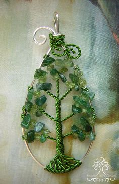 Leaf Tree of Life Wire Wrapped Pendant Jewelry Aventurine and Peridot