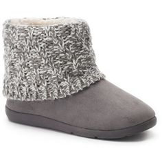 SONOMA Goods for Life™ Women's Knit Shaft Boot Slippers ($24) ❤ liked on Polyvore featuring shoes, slippers and grey