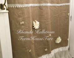 Burlap Shower Curtain Shabby Chic White Lace Tulle Flower Rustic Fancy Girls Bathroom with Tab Ties