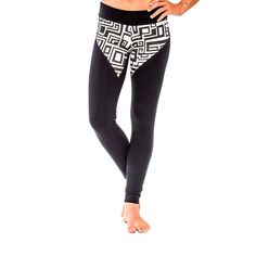 """Women's Brazilian style leggings with bold black and white """"BIG FUNK"""" print paneling. Designed by AndreasOne for PEACEfits."""