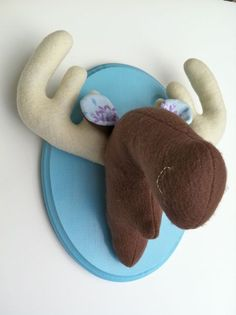Mounted moose felt taxidermy by SquackDoodle on Etsy, $45.00