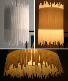 Lámparas con pajitas blancas • White Straw Chandelier, craft by Allison Patrick, the3dsrblog