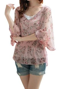 Allegra K Women Dolman Sleeve Ruched Semi Sheer Tunic Shirt Taupe (Click The Image To Buy It)