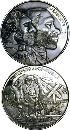 MIKE CIRELLI - BERT AND BO - Bert and Bo - 2 oz. SILVER BUFFALO NICKEL REPLICA - 2 SIDED CARVING Hobo Nickel, Coin Art, Silver Rounds, Buffalo, Classic Style, Coins, Carving, Cactus, Unique