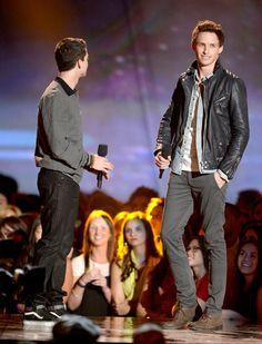 Eddie Redmayne and Logan Lerman linked up on stage at the MTV Movie Awards.