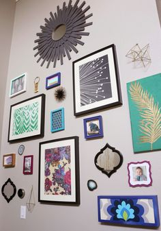 Gallery Wall Wednesday - The Living Room - jewel toned bohemian Moroccan inspired focal wall