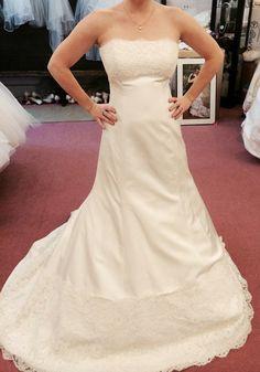 Monique Lhuillier Zuzanna Strapless Wedding Dress - Nearly Newlywed Wedding Dress Shop #wedding #weddingdress #designerwedding #moniquelhuillier #weddingfashion #weddinginspiration #dress #bridal #fashion
