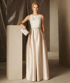 Britany— расклешенное вечернее платье из ткани микадо и кружева, с круглым вырезом.