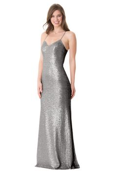 Slim fit gown with halter neck spaghetti straps. Open keyhole back. Center back zipper. | Style: 1666 & 1666-S in Steel  #bridesmaids #wedding