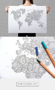 Large world map poster to color in with intricate dots pattern for coloring poster world map mandala 50x70cm 1927 publicscrutiny Gallery