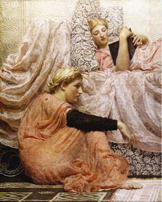 Reading Aloud' (detail), 1884 by Albert Joseph Moore