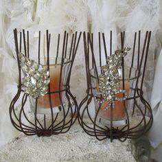 Rare rusty wire bulb guard candle holder set rhinestone embellished upcycled shabby farm house home decor anita spero