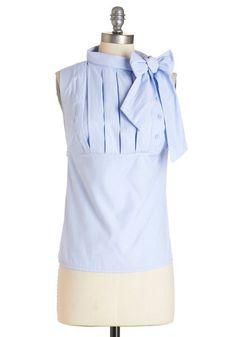 Summer Sangria Top - Mid-length, Woven, Blue, Buttons, Pleats, Tie Neck, Work, Darling, Sleeveless, Blue, Sleeveless