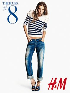 black and white striped top, denim, high lace heels Daria Werbowy