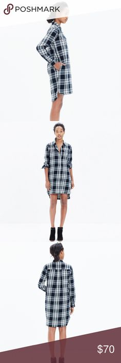 Madewell flannel daywalk shirtdress Glendale plaid Excellent condition, no flaws to note. Worn and washed once, hung to dry. Madewell Dresses Long Sleeve