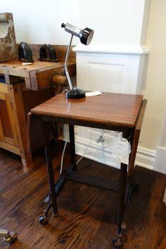 vintage antique . solid mahogany wood top . steel by verdigreen, $295.00