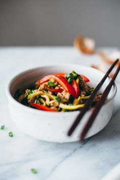 """Drunken Zucchini Noodles —Asian spiralized zucchini """"noodles"""" with ground pork, bell peppers, and shallots, via @yehmolly"""