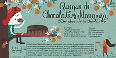 Cositas Ricas Ilustradas por Pati Aguilera/ queque de Chocolate y Naranja Chilean Recipes, Vintage Drawing, Recipe Mix, Food Illustrations, Dessert Recipes, Desserts, International Recipes, No Bake Cake, Food Art