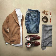 Awesome outfit grid by featuring our Brown Chromexcel Straight Tip Boot. // Photo via // by brickmortarseattle Awesome outfit grid by Phil Cohen featuring our Brown Chromexcel Straight Tip Boot. // Photo via Phil Cohen // by brickmortarseattle Mode Outfits, Casual Outfits, Fashion Outfits, Look Fashion, Autumn Fashion, Mens Fashion, Stylish Men, Men Casual, Casual Wear