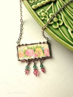 Vintage pink and yellow roses with Swarovski crystals broken china jewelry necklace