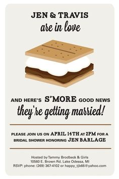 S'more Bridal Shower Invite by BlueJDesign on Etsy, $15.00