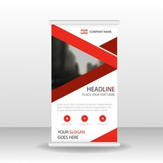 Cartel rojo de empresa enrollable Vector Gratis