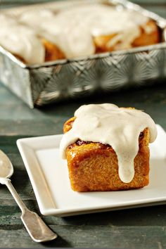 pumpkin cinnamon rolls with maple cream cheese icing.