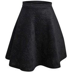 Black Floral Embossed Flared Skater Skirt ($25) ❤ liked on Polyvore featuring skirts, bottoms, black, floral skirt, skater skirt, flared skirt, flare skirt and knee length skirts