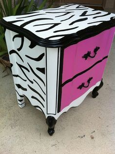 Hot Pink and Black and White zebra print nightstand by bertha