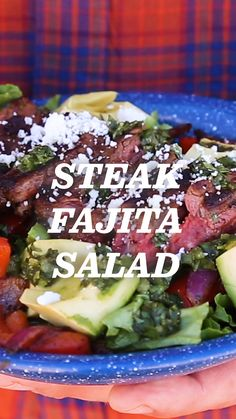 Steak Fajita Salad: Lettuce, peppers and onions, avocado, steak and dressing. Don't even think of it as a salad—you're just enjoying steak fajitas without the carbs. Try out this fresh and filling recipe on your next camping trip. It's the real deal. Best Steak Fajitas, Steak Fajita Recipe, Homemade Fajita Seasoning, Beef Fajitas, Steak Recipes, Cooking Recipes, Salad Recipes For Dinner, Dinner Salads, Steak Dinner Recipes