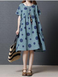 Vestido de noiva de polca Dot de manga curta com manga curta feminina - Banggood Móvel
