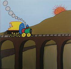 """""""Tren sobre puente"""" // 20 x 20 x 3,5 cm // Gouache (pintura al agua) sobre lienzo // Bastidor pintado (no requiere marco) // Obra original, pintada a mano **55,00 € ** Más información en el tablero """"Mankel: venta y contacto"""""""
