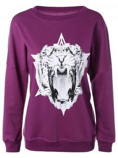 0d36a4fc696 Tiger Print Loose-Fitting Sweatshirt - PURPLE L