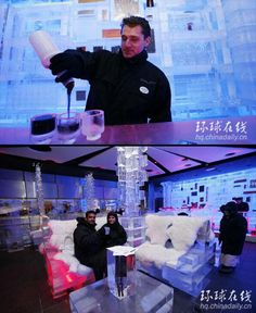Ice Restaurant in Dubai.  Chillout is the first ice lounge in the Middle East where everything from decoration, furniture and teacups is made from ice.