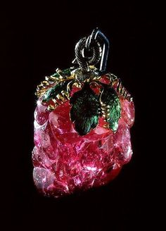 "Part of the Romanov Jewels is this remarkable pink Tourmaline Pendant, known as ""Caesar's Ruby"". It is said that it was a gift from King Gustavus III of Sweden to Catherine the Great of Russia in the 18th century.   It was mounted in Western Europe in the 17th Century, and is now part of the State Diamond Fund of the Russian Federation."