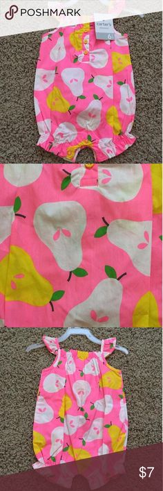 NWT Pear Romper 🎉Host Pick🎉 Bright pink romper with yellow and white pear print Carters Dresses