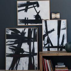 Inspiration: Abstract Black + White Brush Stroke Wall Art