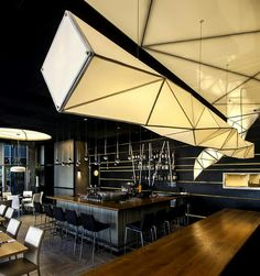 From Nir Portal and Liat Essig (Israel): Interior Lighting design of 'one'- sushi restaurant Bar Restaurant Design, Restaurant Lighting, Restaurant Concept, Restaurant Restaurant, Sushi Restaurants, Japan Design, Tel Aviv, Interior Lighting, Lighting Design