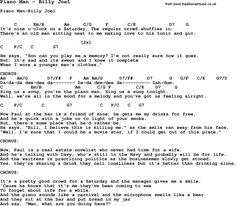 Song Piano Man by Billy Joel, with lyrics for vocal performance and accompaniment chords for Ukulele, Guitar Banjo etc.