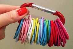 Tired of misplacing hair elastics? Try storing them on a key ring!