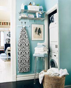 Tiffany Blue Laundry Room, Contemporary, laundry room, Benjamin Moore Waterfall, Domino Magazine