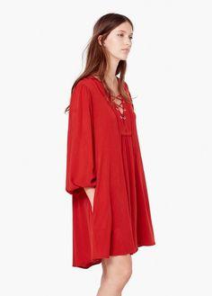 Sukienka ze sznurkiem w pasie   MANGO