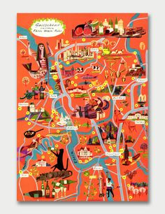 Fun pictorial map over the Ruhr area (Germany), by Volkmar Kötter North Rhine Westphalia, Travel Maps, Travel Posters, Map Design, Graphic Design, Pictorial Maps, Map Globe, Travel Illustration, Flat Illustration