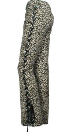 Black Leather Lace-Up Corset Leopard Pants #Punk #Gothic