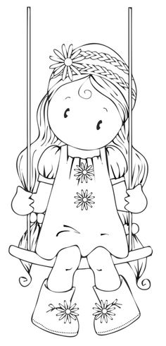 'Chloe on a swing' Digi Stamp by Pink Gem Designs! Colouring Pages, Adult Coloring Pages, Coloring Books, Embroidery Patterns, Hand Embroidery, Machine Embroidery, Digital Stamps Free, Digital Papers, Teacher Stamps